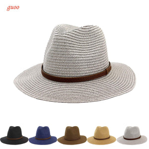Womens Foldable Summer Straw Hat Beach Cap Fedora Sun Beach hat UPF50+