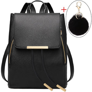 COOFIT Black Faux Leather Backpack for Women Schoolbag Casual Daypack
