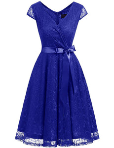 Women's Bridesmaid V Neck Ruched Dress Floral Lace Cocktail Dresses with Belt