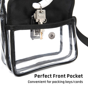 iSPECLE Clear Purse, Clear Stadium Bag Approved for NFL, PGA, NCAA, Casino, Adjustable 4.92ft Shoulder Strap for Women Men, Black