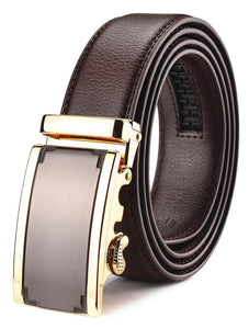 Xhtang Men's Solid Buckle with Automatic Ratchet Leather Belt 35mm Wide 1 3/8""