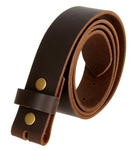 "100% Solid Cowhide Leather Leather Belt Snap on Belt Strap 1.5"" Wide"