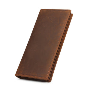 Kattee Men's Vintage Look Genuine Leather Long Bifold Wallet