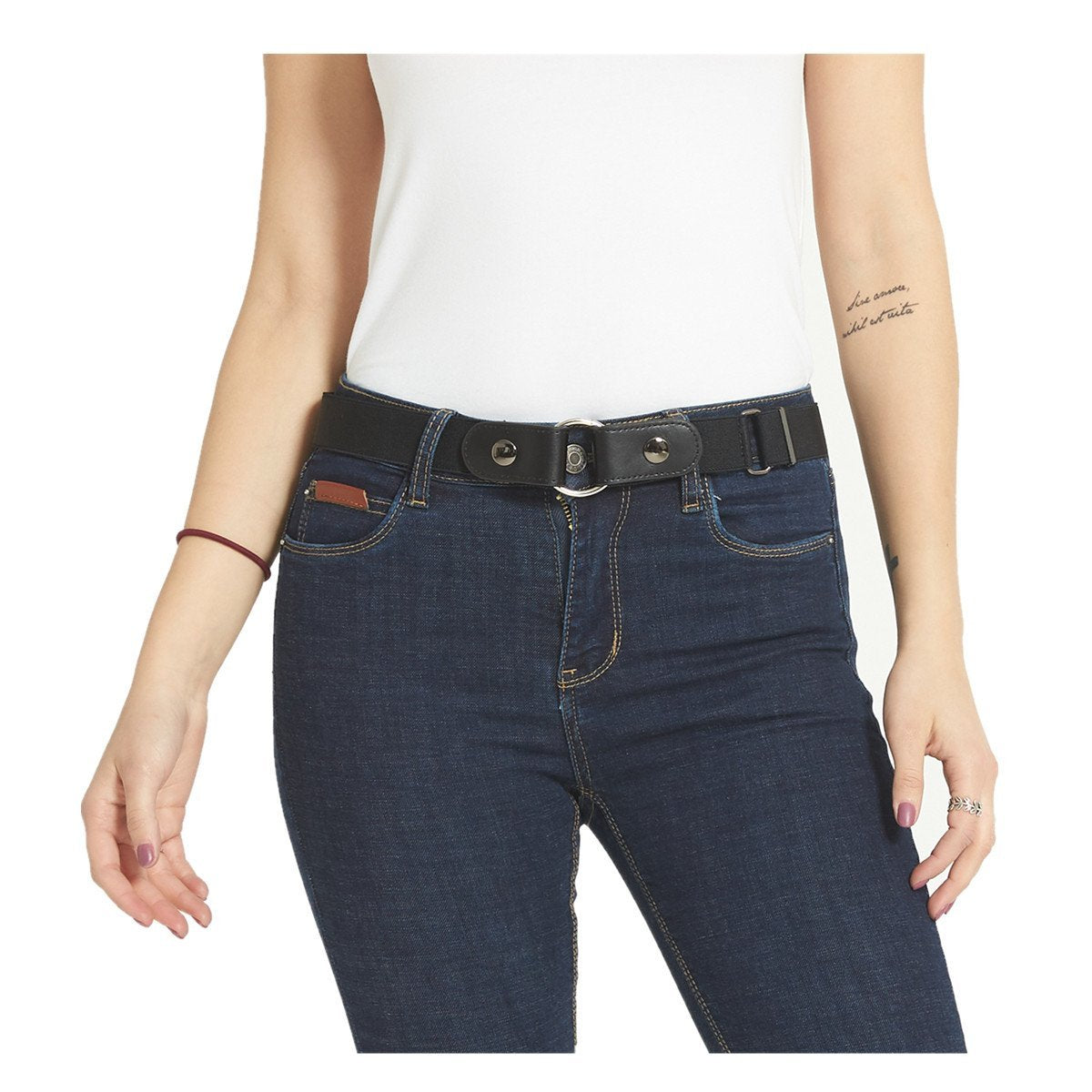 Buckle-less No Bulge Stretch Belt for Girls No Buckle and Hassle Kids Girls Invisible Belts 24 Navy Blue Red 002