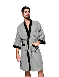 Jearey Men's Kimono Robe Cotton Waffle Spa Bathrobe Lightweight Soft Knee Length Sleepwear with Pockets