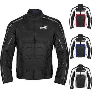 HWK Textile Motorcycle Jacket Motorbike Jacket Biker Riding Jacket Cordura Waterproof CE Armoured Breathable Reissa Membrane - Removable Thermal lining - 1 YEAR WARRANTY!! (Large, Grey)