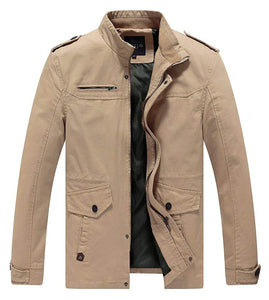Lega Mens Casual Cotton Coat Stand Collar Military Windbreaker Jacket