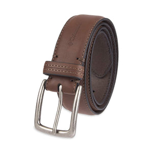 Columbia Men's Casual Leather Belt -Trinity Style for Jeans Khakis Dress Leather Strap Silver Prong Buckle Belt
