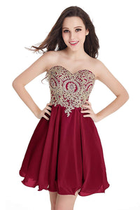 Junior's Gold Lace Applique Short Quinceanera Homecoming Dresses