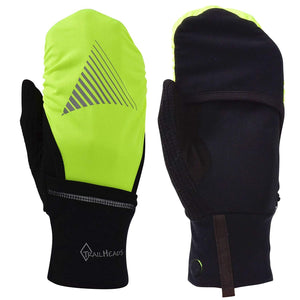 TrailHeads Touchscreen Gloves with Reflective Waterproof Mitten Shell - Convertible Running gloves