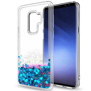 Galaxy S10 Plus Case, Galaxy S10+ Case (Not Fit S10) with 3D PET Screen Protector [2 Pack] for Girls Women, LeYi Glitter Diamond Liquid Quicksand Clear Phone Case for Samsung S10 Plus ZX Teal/Purple