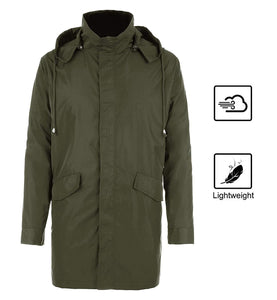 FISOUL Raincoats Men's Waterproof Lightweight Long Rain Jacket Outdoor Hooded Trench