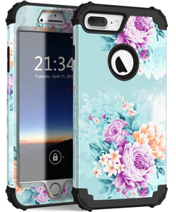 iPhone 8 Plus Case, iPhone 7 Plus case PIXIU Three Layer Heavy Duty Hybrid Sturdy Armor Shockproof Protective Phone Cover Cases for Apple iPhone 8 Plus/7 Plus(Colorful)