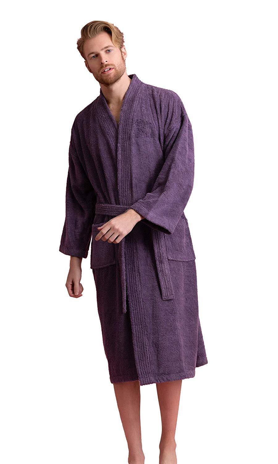 Royal Blue Burgundy White Piping Mens Silk Satin Robe Sleepwear Robes Clothing Shoes Accessories