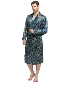 Lonxu Mens Silk Satin Bathrobe Robe Nightgown_Big Tall S~3XL