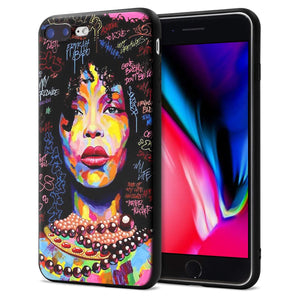 iPhone 7 Plus iPhone 8 Plus Case African American Afro Girls Women Slim Fit Shockproof Bumper Cheap Cell Phone Accessories Thin Soft Black TPU Protective Apple iPhone 7 Plus Cases (09)