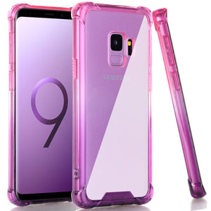 BAISRKE Galaxy S9 Case, Blue Purple Gradient Shock Absorption Flexible TPU Soft Edge Bumper Anti-Scratch Rigid Slim Protective Cases Hard Plastic Back Cover for Samsung Galaxy S9 (2018)