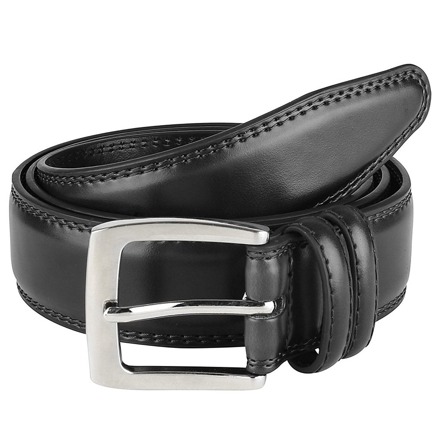 Belts for Men Mens Belt Buckle Genuine Leather Stitched Uniform Dress Belt Navy