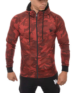 YoungLA Men's Cotton French Terry Tech Fitted Hoodie Zip-up Running Bodybuilding Long Sleeve 507