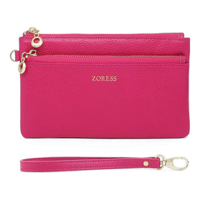 ZORESS Women Genuine Leather Wristlets Bag, Clutch Organizer Wallets Purses for iPhone