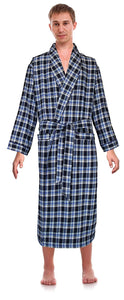 Casual Trends Classical Sleepwear Men's 100% Cotton Flannel Shawl Collar Robe,