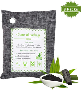 ENIBON Bamboo Charcoal Air Purifying Bag 8 Packs, 8 200g Activated Charcoal Odor Absorber with 8 Hooks for Easy Hanging Charcole Air Freshener Bags for Home, Car and Pets to Eliminate Odors