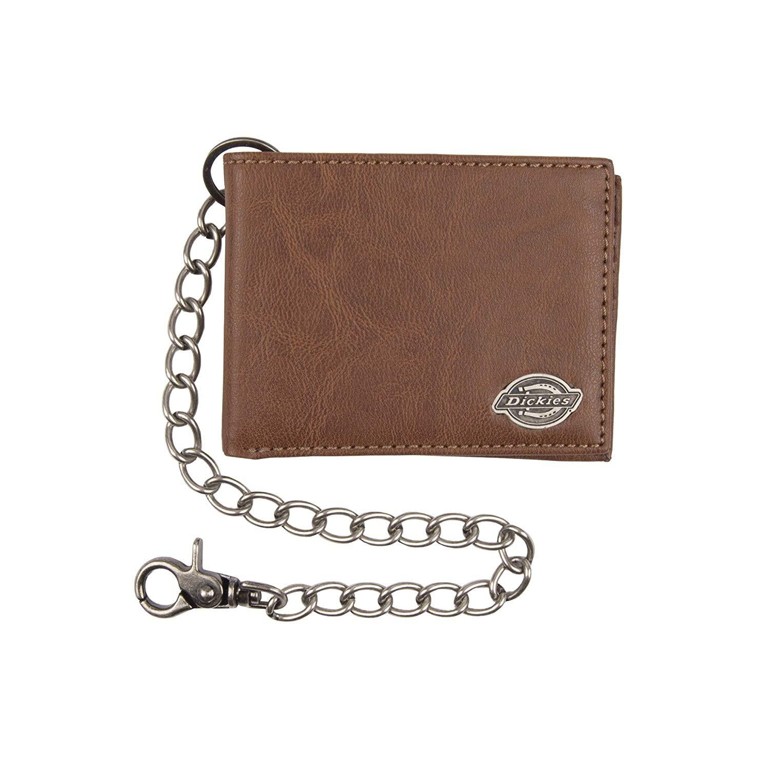 entire collection Official Website classic fit Dickies Mens Wallet with Chain - Leather Security Bifold Truckers Classic  Slim Thin Single Fold with ID Window