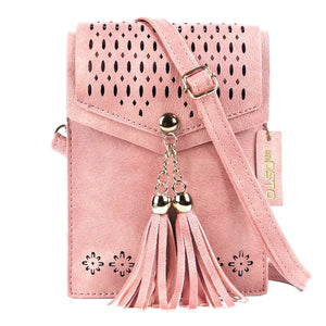 seOSTO Women Small Crossbody Purse, Tassel Cell Phone Purse Wallet Bags