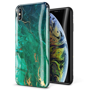 "GVIEWIN Marble iPhone Xs MAX Case, Ultra Slim Thin Glossy Soft TPU Rubber Gel Silicone Phone Case Cover Compatible iPhone Xs MAX 2018 6.5"" - Green/Gold"