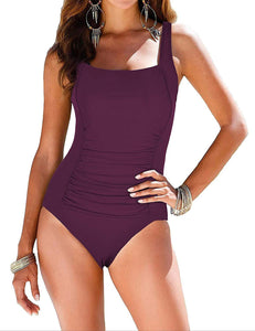 Mycoco Women's Shirred One Piece Swimsuit Tank Bathing Suits Tummy Control Monokinis