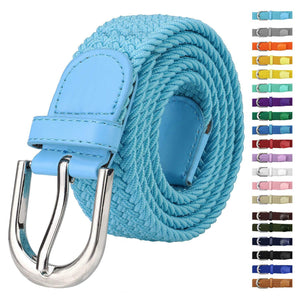 Falari Men Women Canvas Elastic Fabric Woven Stretch Braided Belt - 21 Variety Colors