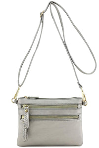 Multi Zipper Pocket Small Wristlet Crossbody Bag