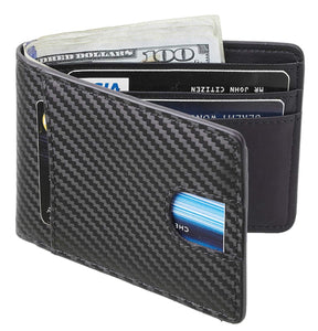 Casmonal Mens Leather Wallet Slim Front Pocket Wallet Billfold RFID Blocking
