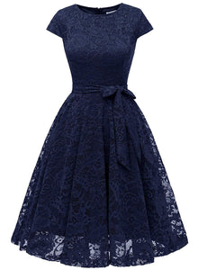 Women Short Lace Bridesmaid Dresses with Cap-Sleeve Formal Party Dresses