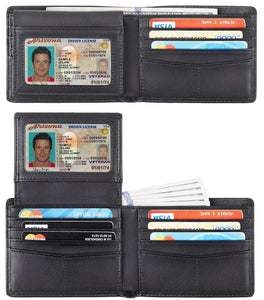 Travelambo Genuine Leather RFID Blocking Wallets Mens Wallet Bifold Classic
