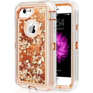 iPhone 6S Plus Case, Caka Flowing Liquid Floating Luxury Bling Glitter Sparkle TPU Bumper Case for iPhone 6 Plus/6S Plus/7 Plus/8 Plus (5.5 inch) - (Rose Gold)