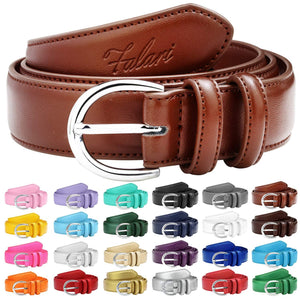 Falari Women Genuine Leather Belt Fashion Dress Belt With Single Prong Buckle 6028-24 Colors