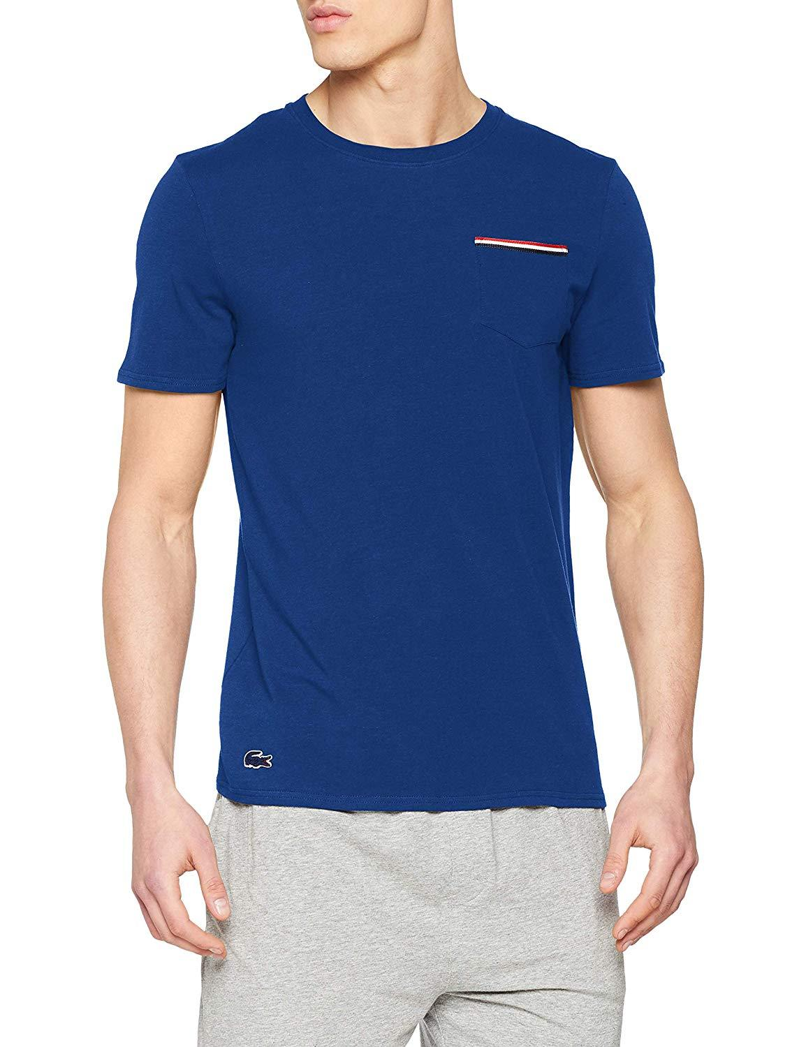 Lacoste Mens Mens French Flag Pocket Lounge Top Pajama Top