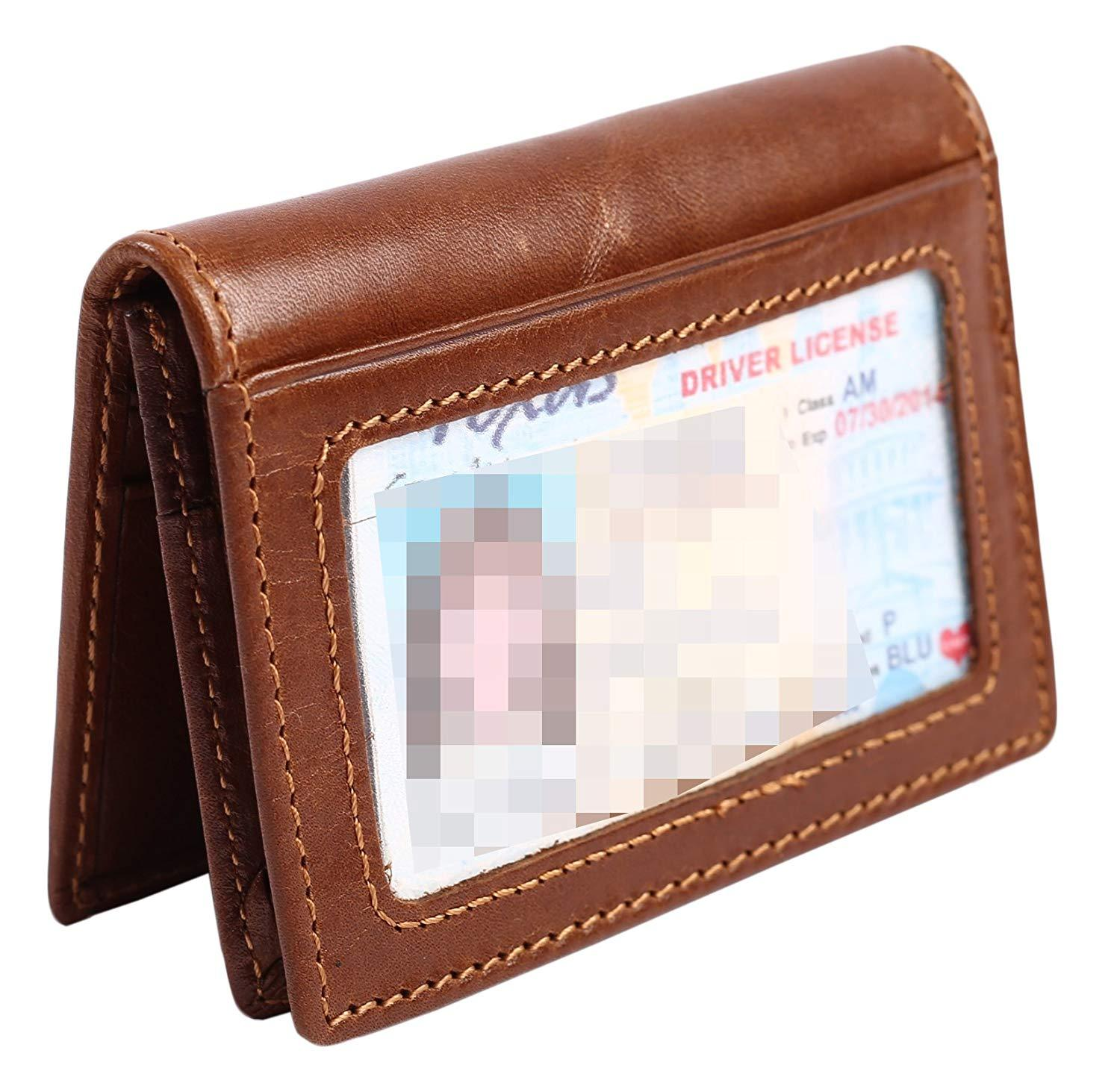 Mens Slim Front Pocket Wallet ID Window Card Case with RFID Blocking 02 Coffee