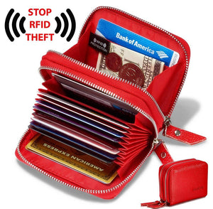 Women's Genuine Leather RFID Secure Spacious Cute Zipper Card Wallet Small Purse