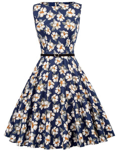 GRACE KARIN Boatneck Sleeveless Vintage Tea Dress Belt