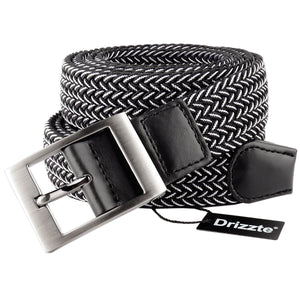 Drizzte Plus Size 47'' 55'' 63'' 71'' Mens Stretch Elastic Braided Waist Belt Black