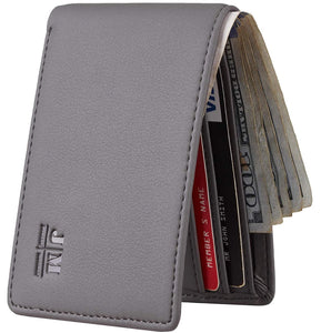 Joymon Mens Slim Minimalist Front Pocket Wallet Genuine Leather ID Window Card Case RFID Blocking