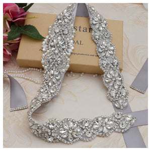Bridal Rhinestone Wedding Belts Hand Clear Crystal 22In Length For Bridal Gowns