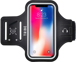 TRIBE Water Resistant Cell Phone Armband Case for iPhone X, Xs Samsung Galaxy S9, S8, S7, S6 with Adjustable Elastic Band & Key Holder for Running, Walking, Hiking