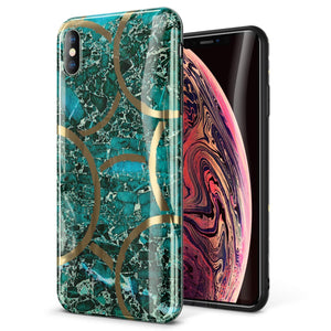 "GVIEWIN Marble iPhone Xs Case/iPhone X Case, Ultra Slim Thin Glossy Soft TPU Rubber Gel Phone Case Cover Compatible iPhone X/iPhone Xs 2018, 5.8""(Green/Gold)"