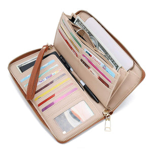WOZEAH Women's RFID Blocking PU Leather Zip Around Wallet Clutch Large Travel Purse