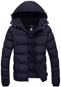 Wantdo Men's Winter Thicken Cotton Coat Puffer Jacket with Removable Hood