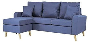 Divano Roma Furniture Middle Century Modern Linen Fabric Small Space Sectional Sofa with Reversible Chaise (Light Blue)