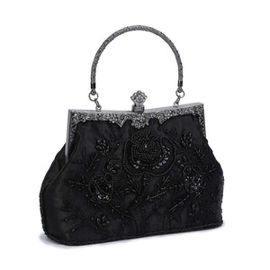 Chichitop Women's Noble Rose Embroidered Beaded Sequin Evening Clutch Wedding Party Purse Vintage Bags